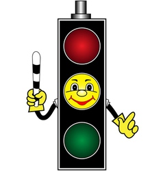 Cartoon yellow traffic light vector image