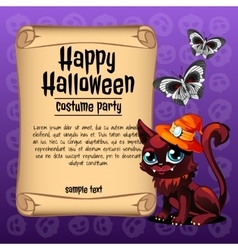 Cat and butterfly with banner happy halloween vector