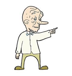 Comic cartoon old man pointing vector