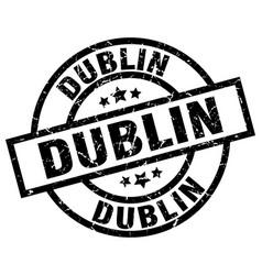 Dublin black round grunge stamp vector
