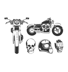 Elements for vintage motorcycle labels vector