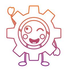 Gear machinery piece cute kawaii cartoon vector