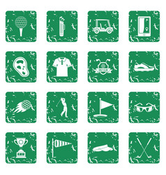Golf items icons set grunge vector
