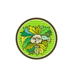 Green Man Foliate Head Circle Retro vector image vector image