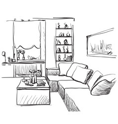 hand drawn room interior sketch furniture vector image vector image