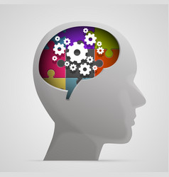 head with gears in brain vector image