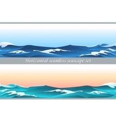 Horizontal seamless seascape set vector image vector image