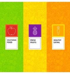 Line Fruit Vegetable Patterns Set vector image