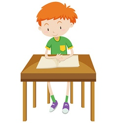 Little boy reading alone vector image vector image