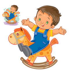 Little boy rocking wood horse vector
