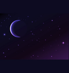 Night sky with a crescent moon and stars vector