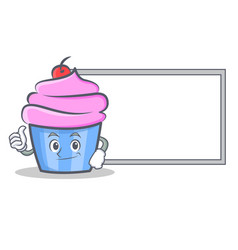 okay cupcake character cartoon style with board vector image vector image