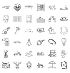 Park icons set outline style vector