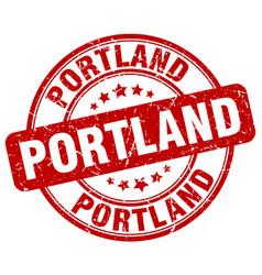 Portland red grunge round vintage rubber stamp vector