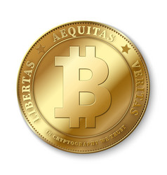 realistic 3d golden bitcoin coin vector image