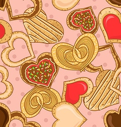 Seamless pattern of heart shape cookies vector image vector image
