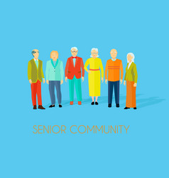 Senior community people group flat poster vector
