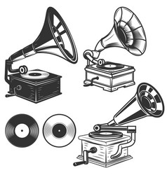 set of gramophone on white background design vector image vector image