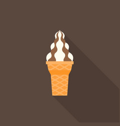 soft serve ice cream icon with chocolate topping vector image vector image