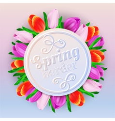 Spring border with tulips vector
