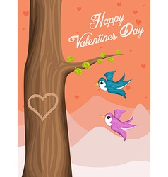 Valentine day background with flying love birds vector