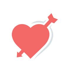 Valentines heart arrow red icon vector