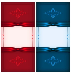 Vintage invitation cards red and blue vector image