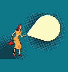 Woman light flashlight vector