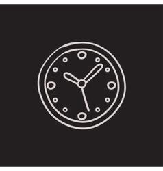 Wall clock sketch icon vector