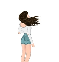 girls wind blown hair  Pretty vector image