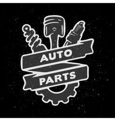 Auto parts hand drawn emblem vector
