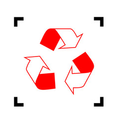 Recycle logo concept  red icon inside vector