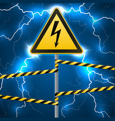 warning sign electrical hazard fenced danger vector image