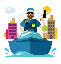 Coast guard flat style colorful cartoon vector