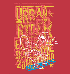 urban rider boy with skateboard vector image