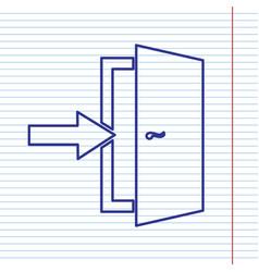 Door exit sign navy line icon on notebook vector