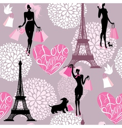 Seamless pattern - Effel Tower hearts with calligr vector image