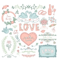Set of wedding decorative elements vector