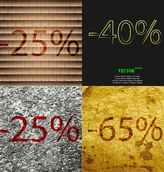 40 25 65 icon set of percent discount on abstract vector