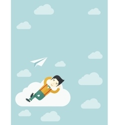 Asian man lying on a cloud with paper plane vector