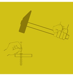 Icon with hand a hammer vector