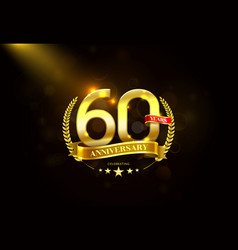 60 years anniversary with laurel wreath golden vector image