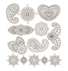 Indian floral ornaments mandala henna vector