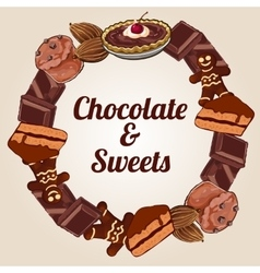 Circle of chocolate and other sweets vector