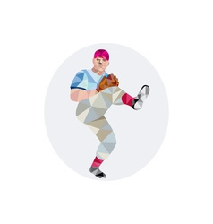 Baseball pitcher outfielder throw leg up low vector