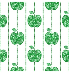 Pattern with green decorative ornamental apples vector