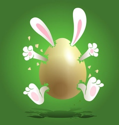 Easter bunny in the egg vector
