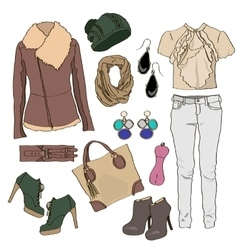 Autumn clothes collection for young women and girl vector