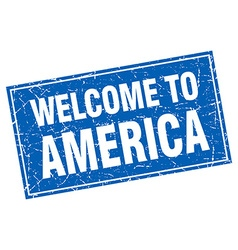 America blue square grunge welcome to stamp vector