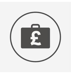 Case with pounds gbp sign briefcase button vector